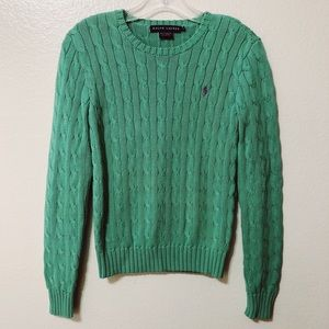 Ralph Lauren Sweater Cable Knit Weave Green